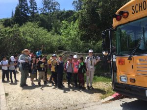 Students leaving Edgewood after a lesson in nature